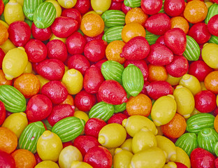 variety of colorful candies, sweet background