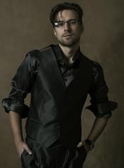 sexy fashion male model dressed elegant