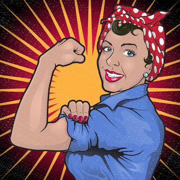 Retro Stong Powerful Woman Revolution Sign.