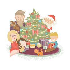 Family celebrating Christmas at the christmas tree