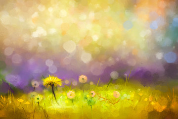 Oil painting nature grass flowers. Hand paint close up yellow dandelions, pastel floral and shallow depth of field. Blurred nature background.Spring flowers background with bokeh