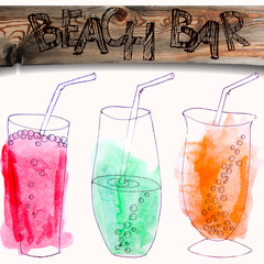 watercolor and liner painted colorful beverages