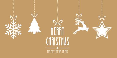 christmas elements hanging gold background