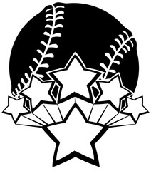 Black and white vector of a baseball or softball with five stars exploding our of a larger star.