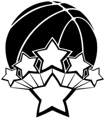 Black and white vector of a basketball with five stars exploding our of a larger star.