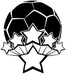 Black and white vector of a soccer ball or football with five stars exploding our of a larger star.