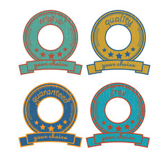 Four retro badges