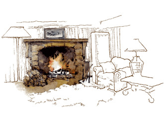 Hand made vecor sketch of cozy interior elements.