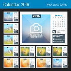 Desk Calendar for 2016 Year. Set of 12 Months. Vector Design Print Template with Place for Photo, Logo and Contact Information. Week Starts Sunday. Calendar Grid with Week Numbers