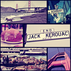 collage of different landmarks in San Francisco, US, cross proce