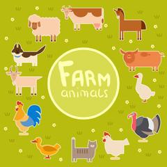 Farm animals in the green field
