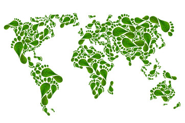 ecological map of the world in green foot print,
