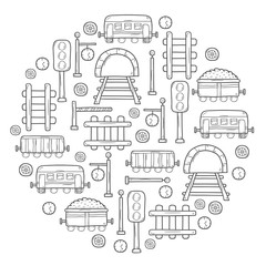 Vector background in circle shape with hand drawn railroad