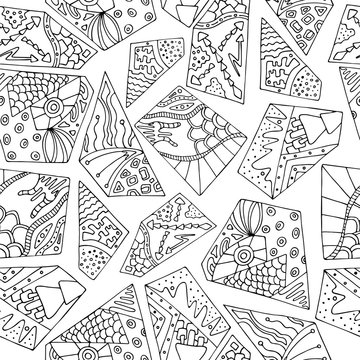 Seamless black and white geometric pattern in the style of zentangle, handmade