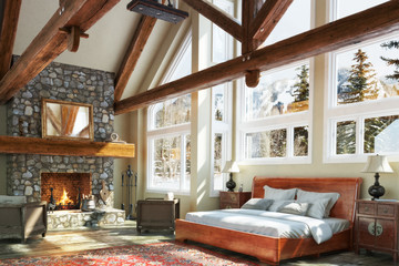 Luxurious open floor cabin interior bedroom design with roaring fireplace and winter scenic background. Photo realistic 3d model scene.