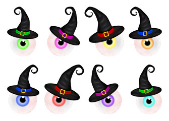 Set  of  Halloween spooky, scary, realistic human eyeball with colorful pupil, iris in wich hat. Vector Illustration isolated on white background.
