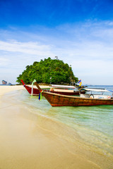 Krabi Beach Tourist boat on the beautiful beach