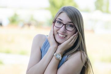 Happy trendy teenager girl smiling in outdoor