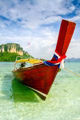 Krabi Beach Tourist boat on the beautiful beach