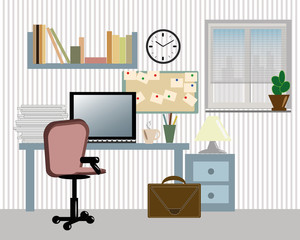 home interior workplace, vector, concept