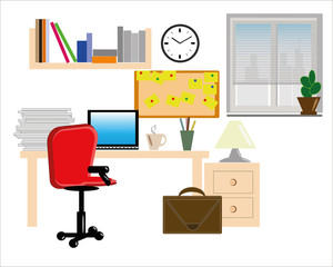 Home interior workplace, concept, vector ,