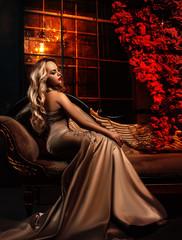Beautiful woman in luxury interior