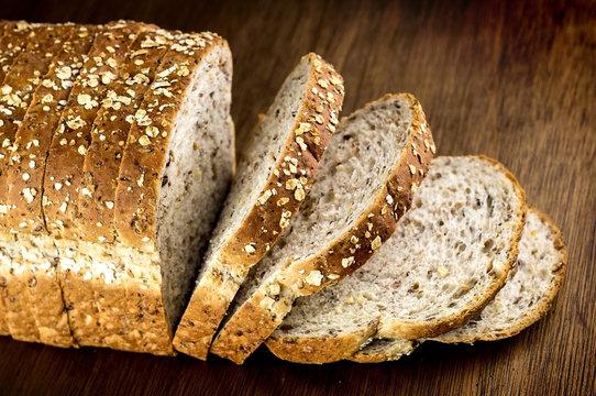 Macro closeup of multi-grain whole wheat loaf of bread