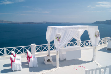 Wedding decoration on Santorini Island, a popular wedding destin
