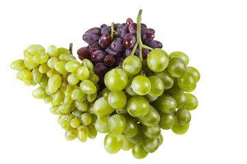 Several varieties of ripe grapes on a white background