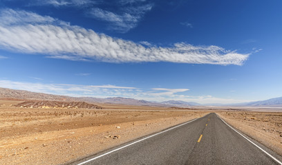 Endless country highway, Death Valley, USA.