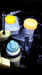 Plastic and aluminum tank water oil in car