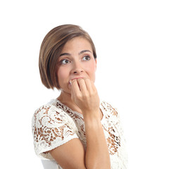 Nervous worried woman biting nails