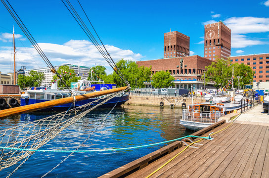 Oslo City Hall from Harbour, Norway
