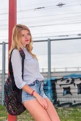 Young beautiful woman in shorts