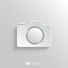 Camera icon - vector white app button