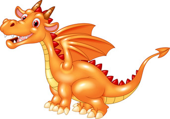 Cartoon cute orange dragon isolated on white background