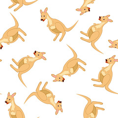 Seamless Funny Cartoon Kangaroo