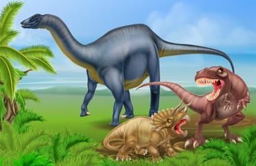 T Rex Triceratops and Diplodocus
