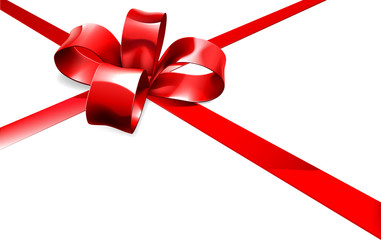Red Bow and Ribbon Gift Background