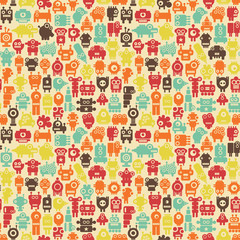 Robots seamless pattern in retro style.