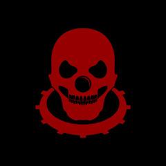 Clowny Bald Skull Red Black