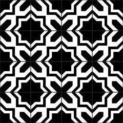 Black and white moroccan tiles seamless pattern, vector