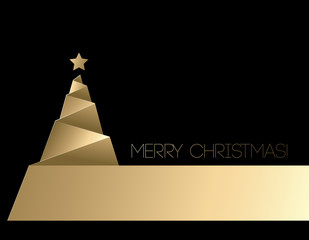 Gold vector christmas tree.
