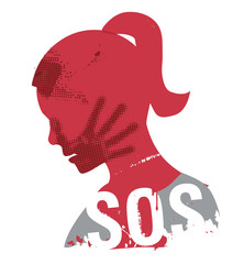 SOS Violence against woman. Young Woman head grunge silhouette with hand print on the face and sign SOS. Illustration on the white background.. Vector available.