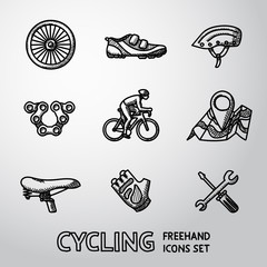 Set of Cycling freehand icons  - wheel, shoe, helmet, chain