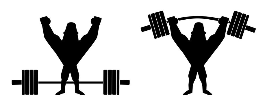 Sportsman lifting heavy barbell. Silhouette