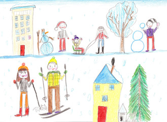 Children playing, skiing and sledding. Make a snowman. Drawing k