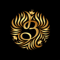 B letter monogram in golden color. Boutique Luxury Vintage, Crests logo. Business sign, identity for Restaurant, Royalty, Boutique, Hotel, Heraldic, Jewelry, Fashion ,Real estate,Resort. Vector.