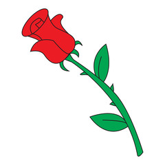 Image of cartoon red rose icon. Vector illustration isolated on white background.