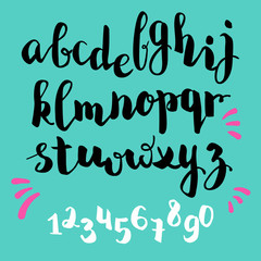 brushpen style vector alphabet calligraphy